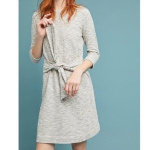 T. La Anthropologie Becky Dress Gray Tie Waist